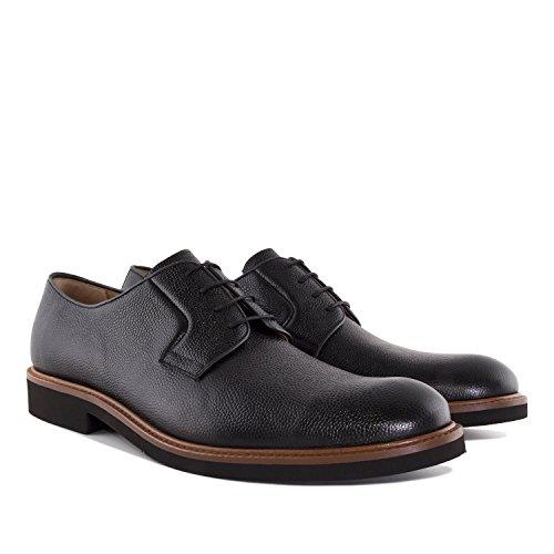 Andres Machado.5811.mens Kornet Skinn Blonder-up Shoes.made I Spain.mens Store Størrelser: Oss M13 Til M16 Svart Kornet Skinn