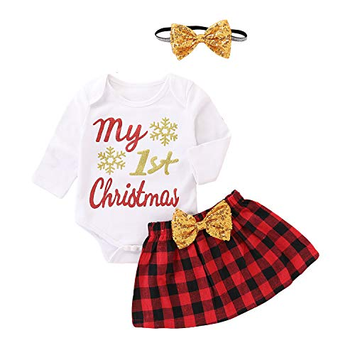 MAMOWEAR My 1st Christmas Outfit Baby Girls Xmas Plaid Bowknot Skirt Set,Headband (White, 6-12 Months)]()