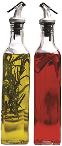 Circleware Oliveto Olive Oil and Vinegar Glass Dispenser Bottles with Pourer, Set of 2, 9 Ounce, Limited Edition Glassware Serveware