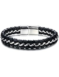 "<span class=""a-offscreen"">[Sponsored]</span>Stainless Steel Braided Genuine Leather Bracelet for Men Bangle Wrap Magnetic-Clasp 8.26 Inch"