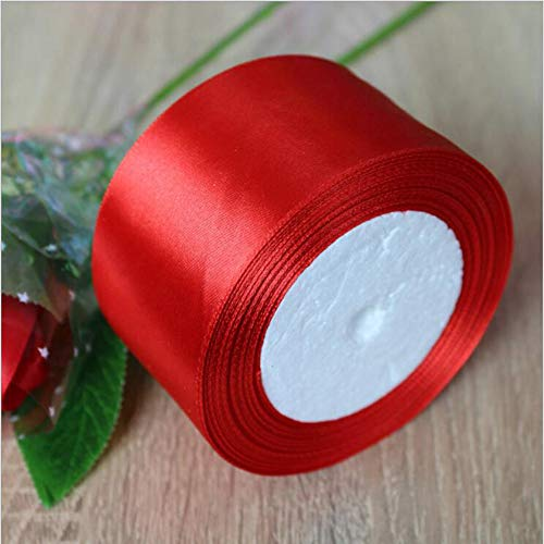 - 25 Yards 1 1/2 inch Wide Solid Satin Ribbon Roll, Gift Wrapping Hair Bows Party Wedding Supply (Red)