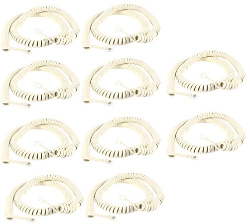 Yohii 10Pcs RJ9 4P4C Plug Connectors Coiled Telephone Cable 2.5m 8Foot for Landline Telephone Beige