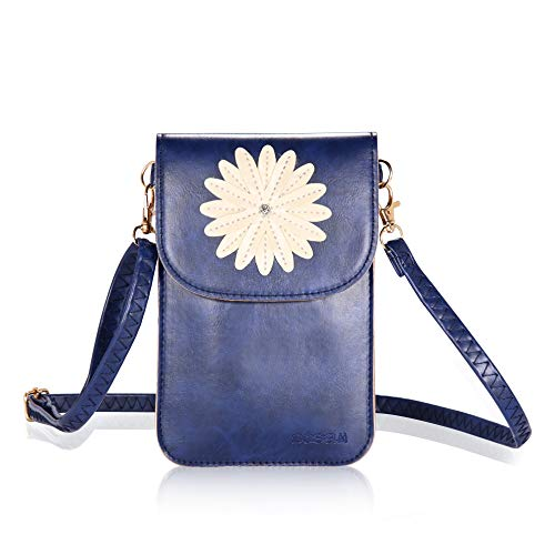Bosam TouchScreenCrossbodyCellphonePurse Shoulder Bags Leather Wallet Case With Floral Pattern Blue