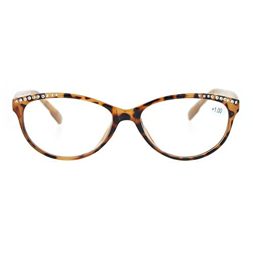 Womens +1.0 Rhinestone Bling Trim Cat Eye Reading Glasses Tortoise (Glasses Reading Brown Rhinestone)