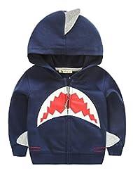 Aivtalk Kids Big Boys Winter Soft and Cozy Fleece Cartoon Hoodie Full Zip Sweatshirt Bear Print for 7Y Dark Blue