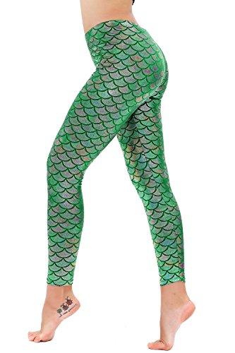 Diamond keep it Women's Mermaid Fish Scale Printing Full Length Leggings (X-Large, Multicolor Green)