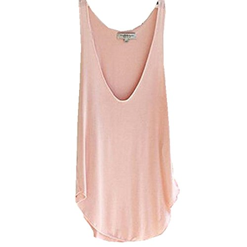 Leegor Woman Soft Breathable Deep V-Neck Candy Color Vest Loose Tank Tops T-Shirt (Pink)