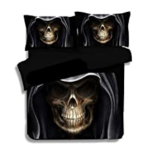 Best to Buy Soft Luxury Youth 100% Polyester Wroth skull Fully Reversible 3-Piece Modern Flower Skull Comforter Set, Full /KING/ Queen/ Single Size, (Queen)