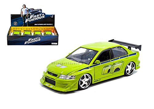 Jada 99794 ダイカスト玩具 車 1:24 速い明るい ブライアンの三菱 ランサー エボリューション VII グリーンカラー 1アイテム 小売りボックスなし B079CP5X89