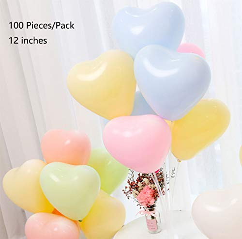 FALEYA.WZW Macaron Heart Latex Balloons 12 Inches 100 Piece Bulk Multi Color,Rainbow Balloons Birthday Set, Theme Party for Various Party Decorations ()