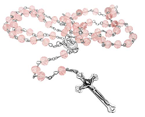 Nazareth Store Light Pink Crystal Beads Rosary Catholic Necklace Holy Soil Medal & Crucifix Brand Velvet Bag