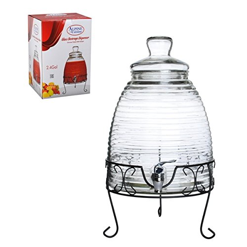 Mexican Style 9 Liter 2.4 Gallon Glass Beverage Water Dispen