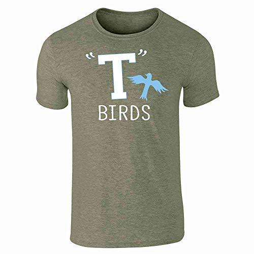 T Birds Gang Logo Costume Retro 50s 60s Heather Military Green L Short Sleeve -