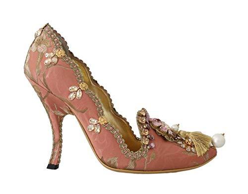Dolce & Gabbana Pink Gold Jacquard Crystal Pumps