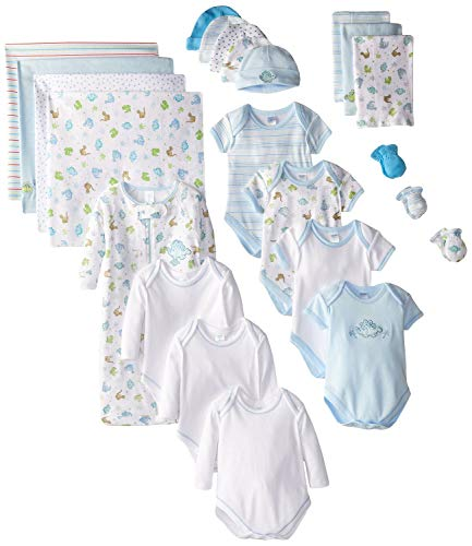 3 Mitten Piece Set (SpaSilk 23-Piece Essential Newborn Baby Layette Set, Blue Boy, 0-6 Months)