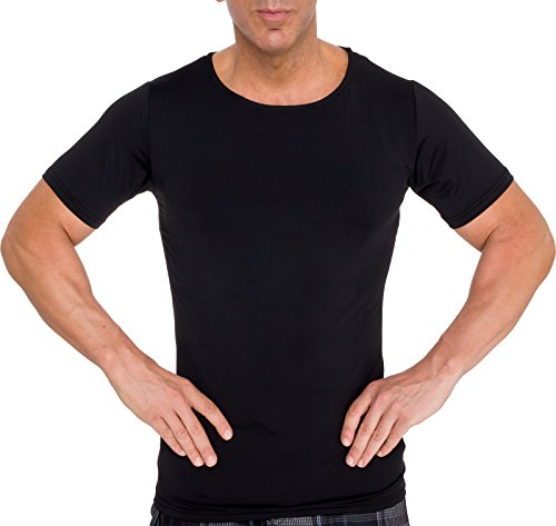 Short Sleeve Undergarment - LISH Men's Slimming Light Compression Crew Neck Shirt - Short Sleeve Body Shaper T-Shirt for Gynecomastia, Weight Loss (Black, XLarge)