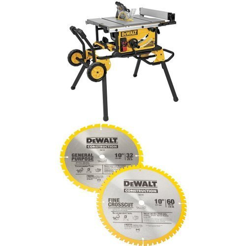 DEWALT DWE7491RS 10-Inch Jobsite Table Saw with 32-1/2-Inch Rip Capacity and Rolling Stand  w/ DW3106P5 60-Tooth Crosscutting and 32-Tooth General Purpose 10-Inch Saw Blade Combo Pack