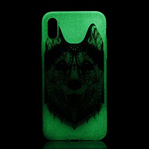 iPhone X Hülle , Leiai Wolf Fluoreszenz TPU Transparent Weich Tasche Schutzhülle Silikon Handyhülle Stoßdämpfende Schale Fall Case Shell für Apple iPhone X