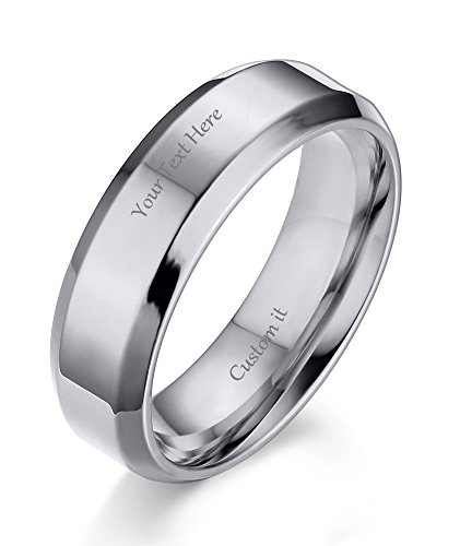 Date Engraved Ring - VNOX (Free Engraving) 6MM Stainless Steel Personalized Plain Band Ring for Men and Women,Silver,Size 7