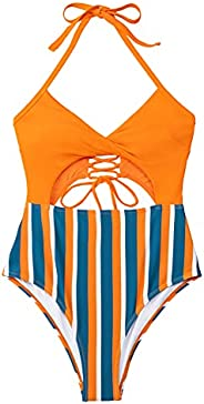 CUPSHE Women's One Piece Swimsuit Striped Cutout Halter Lace Up Twist Bathing