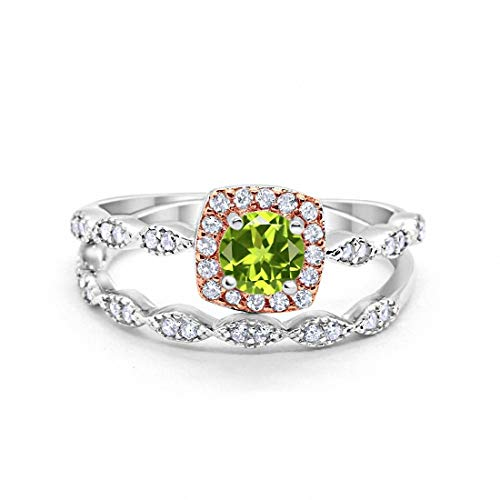 Blue Apple Co. Art Deco Bridal Set Ring Band Halo Simulated Peridot Two Tone 925 Sterling Silver, Size-5 ()