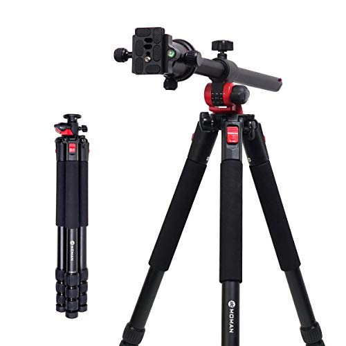 Moman Camera Tripod with Telescopic Horizontal Column Arm and Ball Head for Macro Shoot/Overhead Photography/Travel / DSLR Camera Video Camcorder