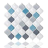 bathroom wall tile Peel and Stick Wall Tile for Kitchen Backsplash-Slant Blue&White Arabesque Tile Backsplash-Kitchen Backsplash Tiles Peel and Stick Wall Stickers,6 Sheets