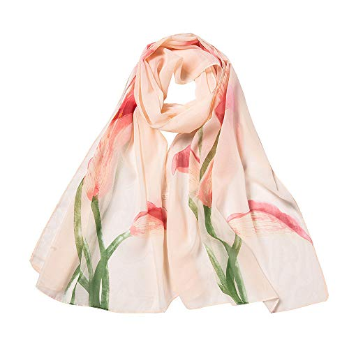 lightweight Scarfs for Women Hot Sale,deatu Clearance Ladies Fashion Flower Printing Long Soft Wrap Scarf Shawl(A-Beige)
