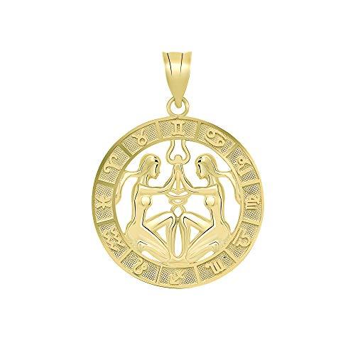 - CaliRoseJewelry 10k Yellow Gold Gemini Zodiac Pendant