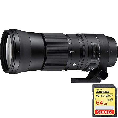Sigma 150-600mm F5-6.3 DG OS HSM Zoom Lens for Nikon DSLR Cameras includes Bonus Sandisk 64GB Memory Card