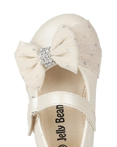 JELLY BEANS Limasa Leatherette Fabric Bow Rhinestone Mary Jane Dressy Ballerina Flat (Toddler) AH36 - Pearl (Size: Toddler 4) by JELLY BEANS (Image #3)