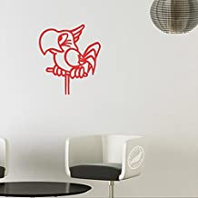 Pet Parrot on Perch Decal Sticker (matte red, 13 inch)