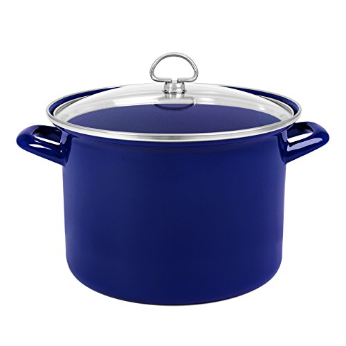 Chantal Enamel-On-Steel 8-Quart Stockpot with Tempered Glass Lid, Cobalt (Chantal Enamel)