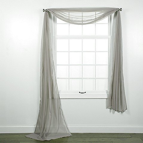 (GorgeousHomeLinenDifferent Colors & Sizes 1 Sheer Panel or 1 Scarf Valance Drapes Voile Window Treatments Rod Pocket Curtain or Elegant Swag Valance (37