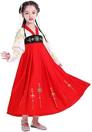 SACYSAC Girls' chinesisches Kleid mit voller Brust und Rock, im chinesischen Stil der traditionellen Performance Kostüme und Tang-Anzug,Rot,130cm