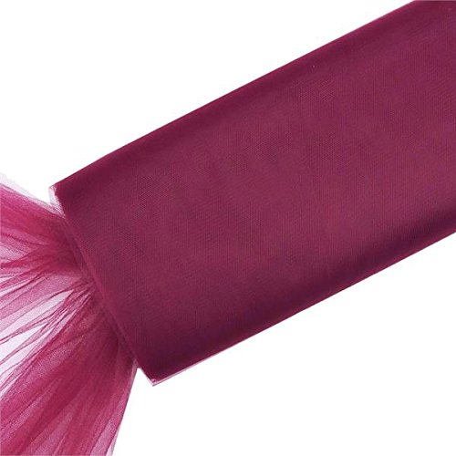 x 120 feet Burgundy Large Net Tulle Fabric by the Bolt - Wedding Party Decorations Sewing DIY Crafts Costumes ()