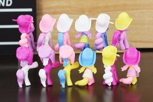 12pcs Princess My Little Pony Hat MLP Cake Toppers Doll Action Figure Toy Xmas