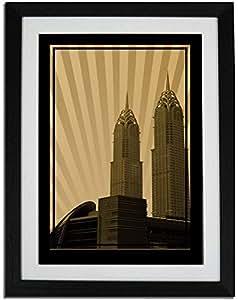 Al Kazim Towers Metro - Sepia No Text F01-nm (a2) - Framed