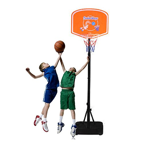 FCH Basketball Hoop Portable Kids Junior Height-Adjustable Basketball System Backboard Stand Orange & Black & (Basketball Hoops Cheap)