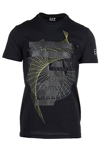 Emporio Armani EA7 Herren T-Shirt Kurzarm Kurzarmshirt runder Kragen Schwarz