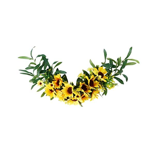homozy Sunflower Wreath for Front Door – 23 inches Artificial Sun Flower Greenery Garland for Home Decoration, Spring & Summer Kitchen Decors (Arch)