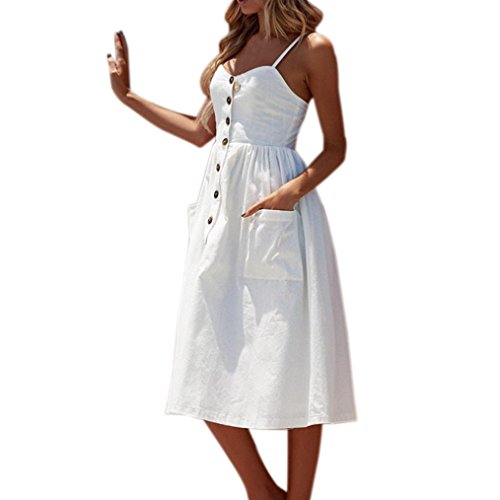 vermers Women Summer Sexy Dresses, Buttons Solid Off Shoulder Sleeveless Princess Dress (XL, White) by vermers (Image #1)