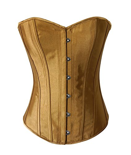 Chicastic Beige Gold Satin Sexy Strong Boned Corset Lace Up Overbust Bustier Bodyshaper Top - 7-8 XL
