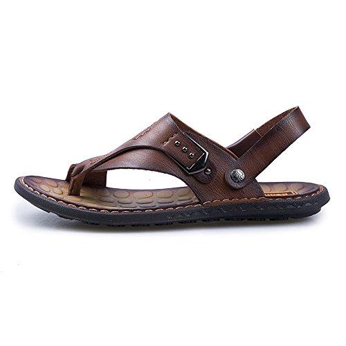 para Libre la Mens Tanga Planas Sandalias la al Senderismo Chanclas Mano PU 2018 Cuero Zapatos de Respaldo Ajustables de Que Trabajo Hecho Aire Camina a Sandalias Brown Playa sin Suaves Casual BFatn51x