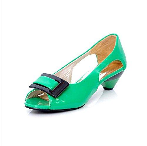 Zapatos de mujer de charol de tacón bajo Peep Toe Bombas / talones Vestido Negro / Azul / Amarillo / Verde / Rosa / Blanco Green