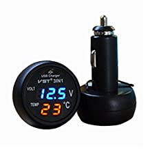 IZTOR Universal Cigarette Lighter Car usb port Cell-Phone Charger Digital LED Display Voltmeter Thermometer Auto Gauge 3 in 1 12 V 24 Volt Battery Voltage Tester Temperature Monitor Meter