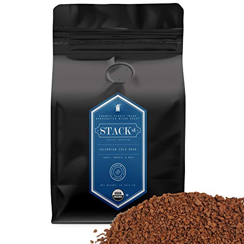 Organic Cold Brew Coffee Grounds, 1 lbs - Colombian Supremo Reserve Flavor Dark Roast, Coarse Grind - 100% Arabica Beans - Handcrafted, Single Origin, Micro Roast, Direct Trade - By Stack Street