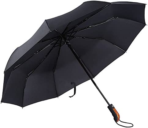 PROW® 完全自動男性用ビジネス旅行用の傘,ガラス繊維10本 キャノピー防水の傘 人間工学に基づいた折り畳み傘、黒