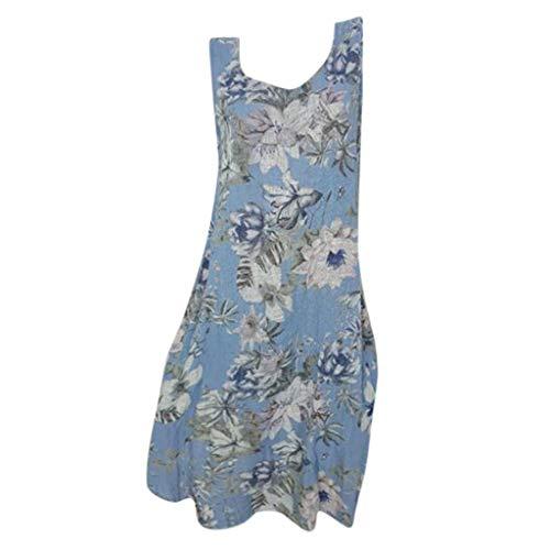 (TANLANG Women's T Shirt Loose Print Sleeveless Mini Club Dress Henley Top Sleeveless Casual Curved Hem Top Maxi Shirts Blue)
