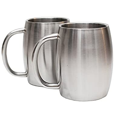 Set of 2 Avito Stainless Steel 14 Oz Double Walled Insulated Coffee Beer Tea Mugs - Best Value - BPA Free Healthy Choice - Shatterproof